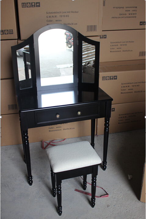 2016 Hot Sale Dressing Table with Three Lighted Three Mirrors & Stool