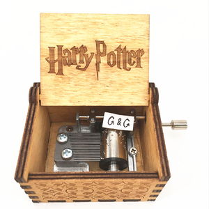 Wooden Hand Crank Crate Box Music Box Harry Potter Music Box