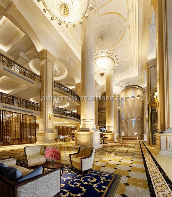 Luxury elegant palace hotel design of 3d rendering plan for Villa lobby interior design