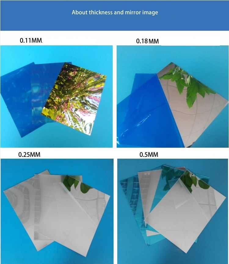 Factory Price 0.25Mm 0.5Mm 0.7Mm 1Mm 1.5Mm Mirrored Plastic Polycarbonate Sheet Flexible Super Thin Pc Mirror Sheet