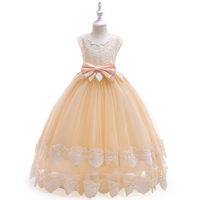 S34914W Appliques Princess Girls Birthday Evening Party Gown Dress Elegant Gold Line Girls Wedding Dress