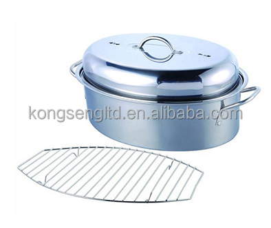 Stainless Steel Oval Cover Turkey Roaster with Wire Rack