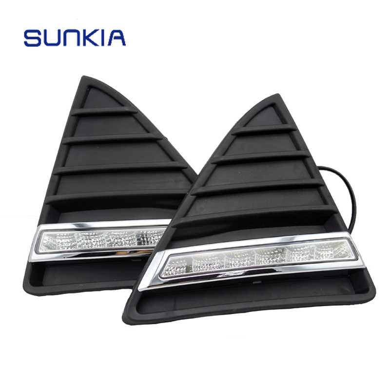 SUNKIA Waterproof LED Daytime Running Light DRL for Ford Focuse 3rd With Turning Signal Lights
