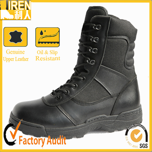 Lleather black military police tactical boots
