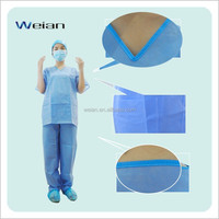 2017 Sterile OEM Professional patient gowns/ cheap disposable non woven lab coat with 4 buttons