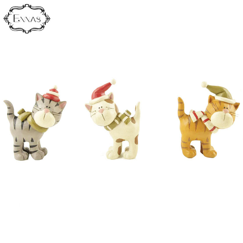 Newest Personalized resin Cute S/3 Christmas Cats Ornaments with holiday hats scarves