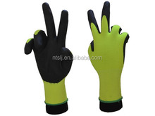 SLJsafety 15G fluorescent yellow nylon and spangex liner coated super fine foam mechanics gloves work