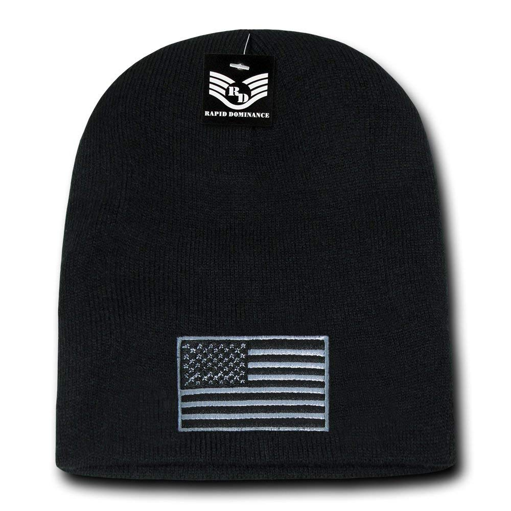 Get Quotations · Rapid Dominance USA Subdued Grey American Flag Embroidered  Short Beanie Hat d2bcf25e8a0