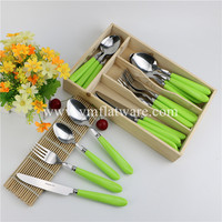24 Pcs Hot Sell Plastic Cutlery Set with Wooden Tray
