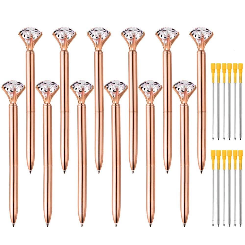 Zealor 12 Pieces Big Diamond Crystal Ballpoint Pens and 12 Pieces Ballpoint Pen Refills, Black Ink (Rose Gold)