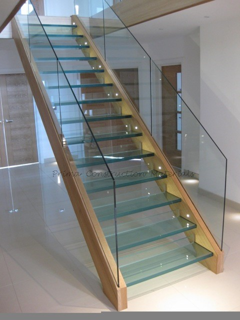 Double Post Aluminum U Channel Glass Railing Tempered Glass Tread ...