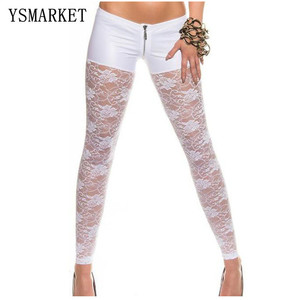 Women Low Waist Sexy Transparent Lace Pu Leggings Slim Fitness Pants Casual Hollow Out Female Pants Night Club Wear E7988