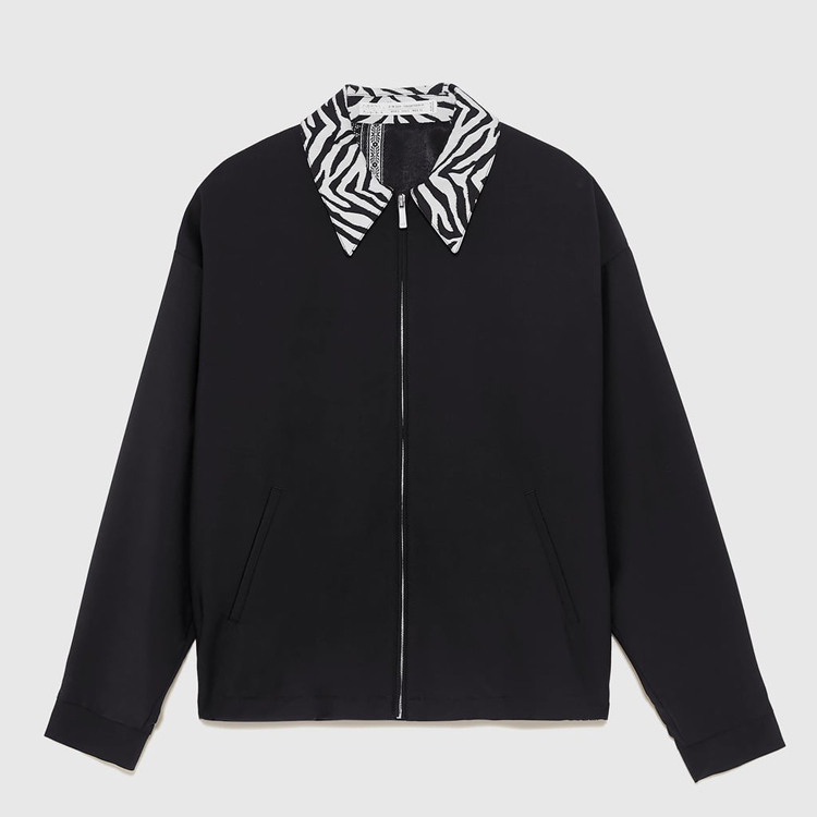 OEM 2019 trending zebra pattern collar baseball jacket black and white varsity jacket for man street style bomber jaket