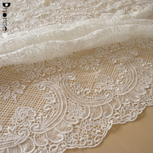 Fashion designer design white grid guipure vintage design embroidery lace fabric for wedding dress