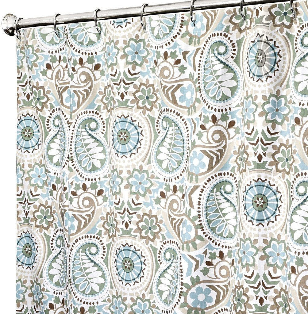 Get Quotations · Extra Long Shower Curtain Unique Shower Curtains 84 Inch  Fabric Modern Paisley