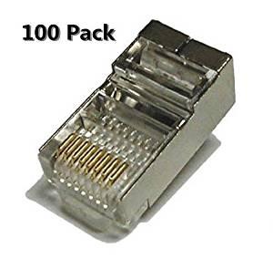 Haiker 100 Pack Metal Shielded RJ45 CAT5E CAT6 Crimp Connector RJ-45 8P8C Ethernet Network CAT5E CAT Modular Network Cable Plug Connector