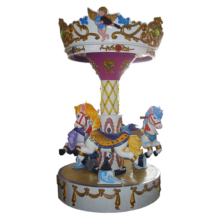 2017 Popular and funny pony 3 seats mini merry go round amusment kiddy carousel with low price