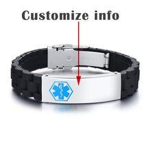 Мужской черный силиконовый браслет Vnox, спортивный медицинский браслет с идентификационным номером для женщин, индивидуальный аксессуар дл...(Китай)