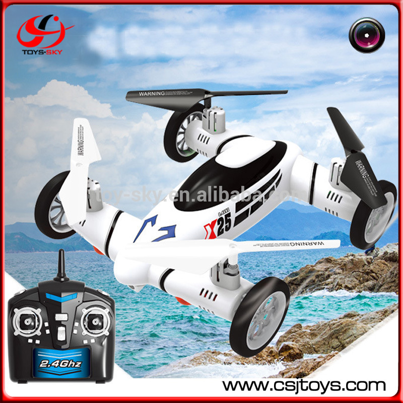 RTF 2.4G Remote 6 Axis Battery Toy Quadcopter Electric Flying Car RC Camera Drone With HD Camera
