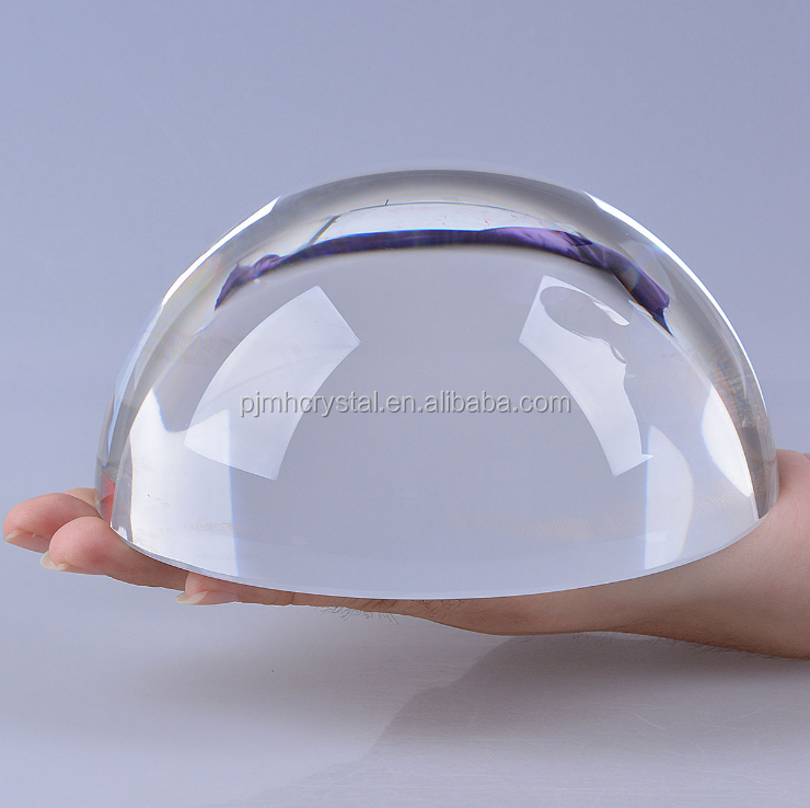clear crystal glass half dome ball paperweight for office table
