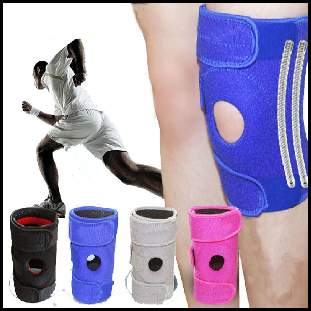 compression silicone 4 springs elastic knee support brace pads for sports