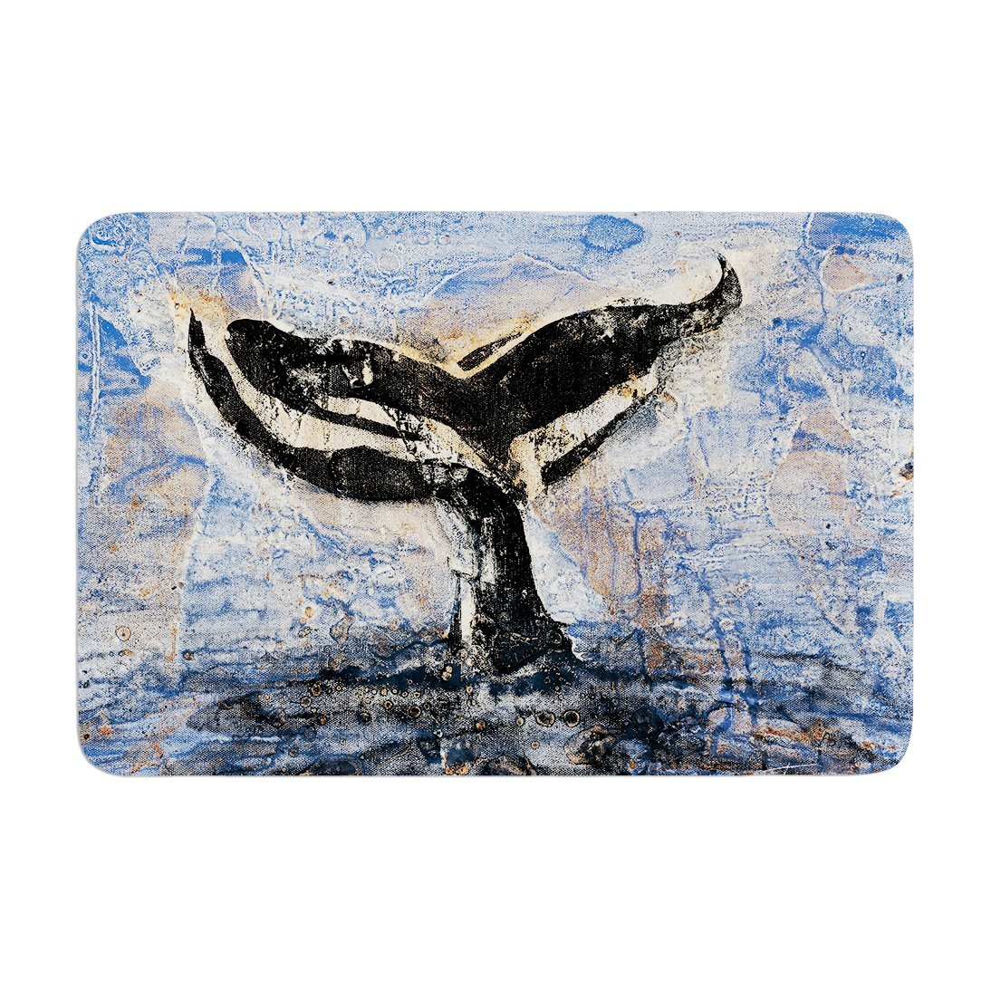 "KESS InHouse JS2033ABM02 Bath Mat Josh Serafin ""Whale Tail"" Coastal Painting Memory Foam Bath Mat, 24"" X 36"",,"