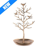 Silver Birds Tree Jewelry Stand Display Earring Necklace Holder