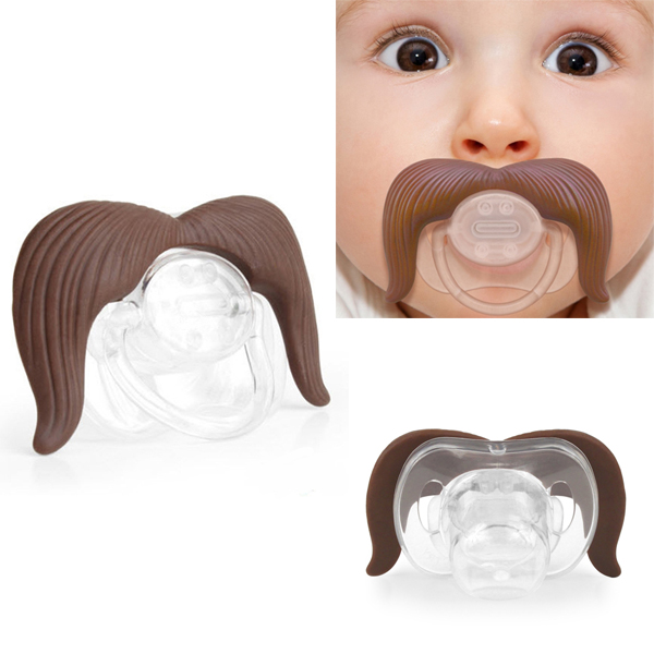 High Quality Funny Novelty Moustache Infant Nipple Pacifier Safe Edible Silicone No Toxic Brown Gift Baby Care