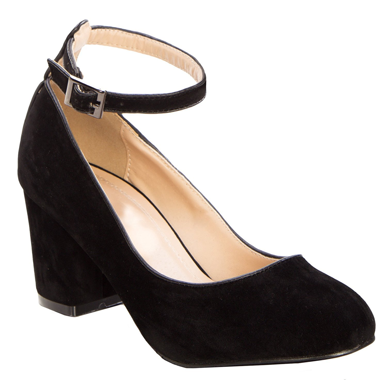 4b957608683d Get Quotations · OLIVIA K Women s Ankle Strap Block Low Heel Pumps