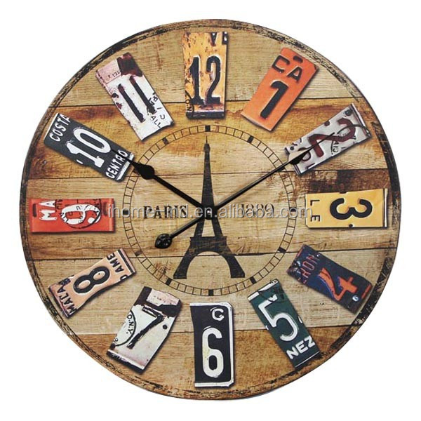 Large Retro Vintage MDF Wall Clock Paris Eiffel Tower Clock Home Decor Round Wall Clocks