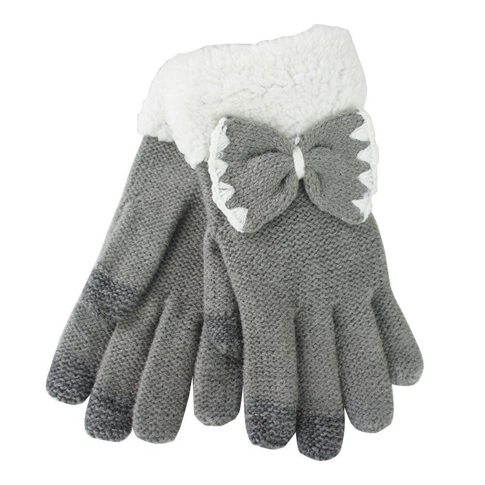 Yakamoz Magic Knit Girls Women Lovely Chic Bowknot Smart Touch Screen Winter Winter Warm Gloves for Iphone Ipad Smart Phone with Free Stylus Pen (Grey)