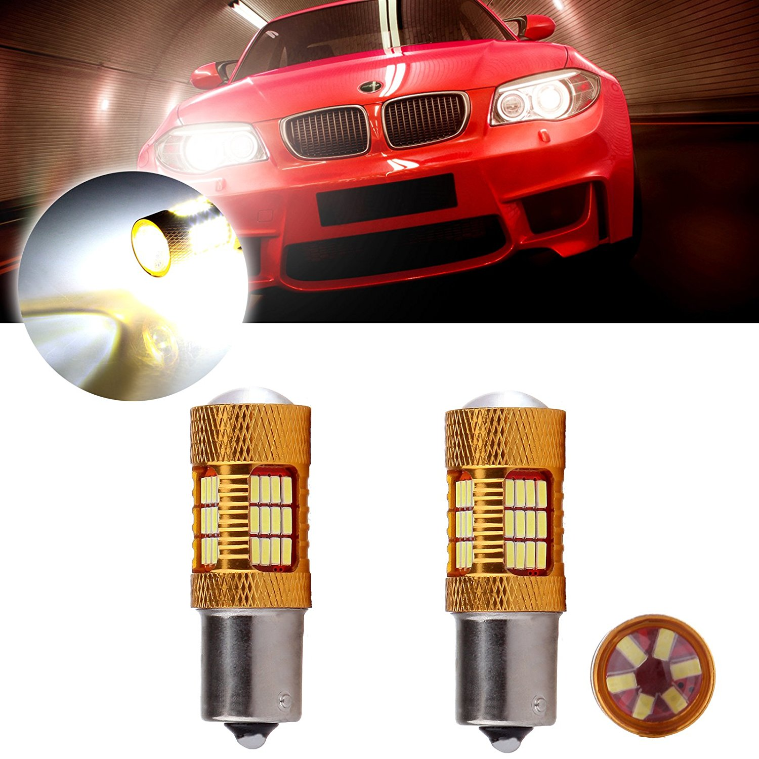 CCIYU 2 Pack Xenon White 6000K 60W 6000LM 1156 BA15S Cree LED 54 4014 SMD Backup Reverse Light