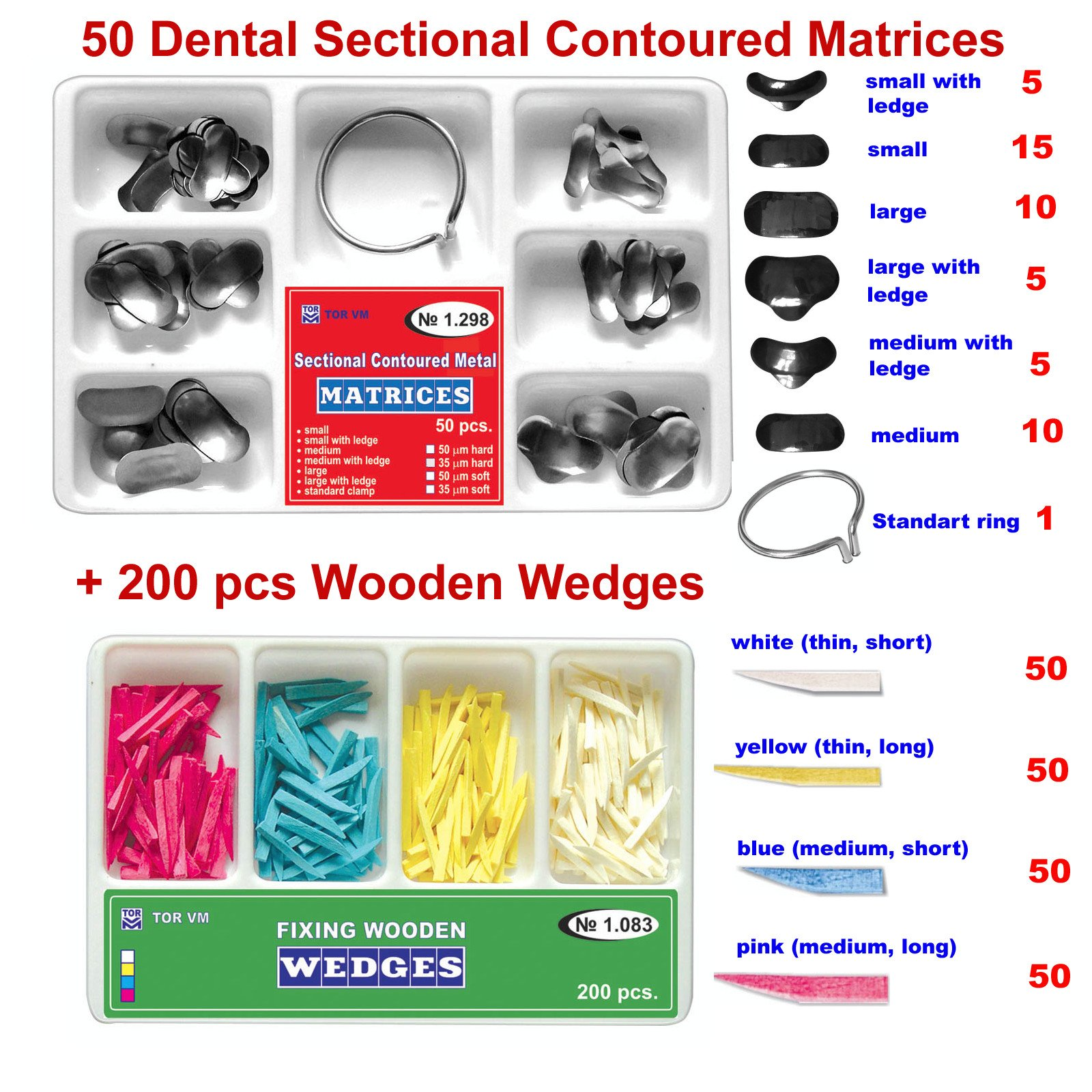 7299481b0ea Get Quotations · 50 of Dental Sectional Contoured Matrices Matrix + 200  Wooden Wedges