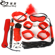 new 10PCS SM bondage kit sex product sexy toy handcuffs PU leather whip Cosplay Woman Slave
