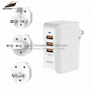 3 in 1 usb travel wall charger with 3 plug custom logo adapter phone charger