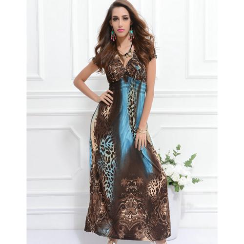0dd1d7c77b2c Get Quotations · Leopard Wrap Dresses Summer Style Dress To Floor Low V  Neck Sexy Bodycon Vestido Longo boho