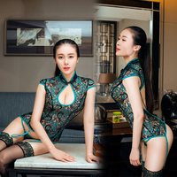 drop shipping and wholesale erotic retro style lace cheongsam with 3 sets perspective corset bodysuit sexy lingerie underwear