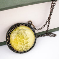 Honeycomb Natural History Pendant Necklace Honey Bee Yellow Gold
