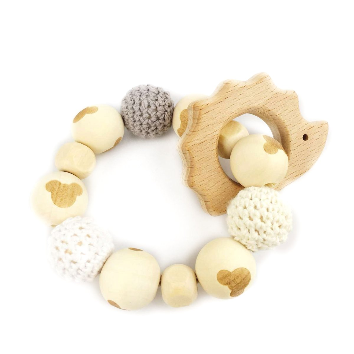Hedgehog Wooden Teether Chew Beads Baby Rattle Teether Nattural Raw Crochet Beads Toy Mom Ecofriendly Baby Teething (Hedgehog)