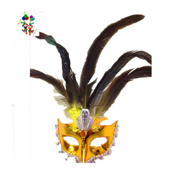 Venetian Party Gold Masquerade Feather Mardi Gras Masks HPC-2137