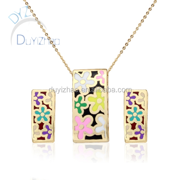 cheap enamel earrings and necklaces for jewelry set