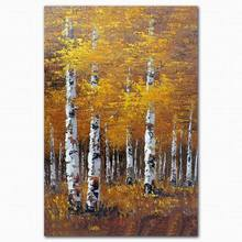 Custom famous autumn tree yellow leaves paintings art on canvas
