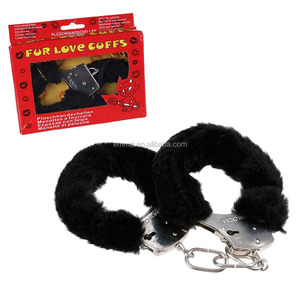 Adult Novelty Sexy Toy Plush Furry Party Handcuffs in Black For Lover Woman's Perfect Naughty Joke Fun Gift SA1501