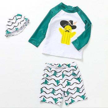 Summer young boy UV protection swimwear long sleeved Tops shorts cap sets printed swimsuit set wholesale