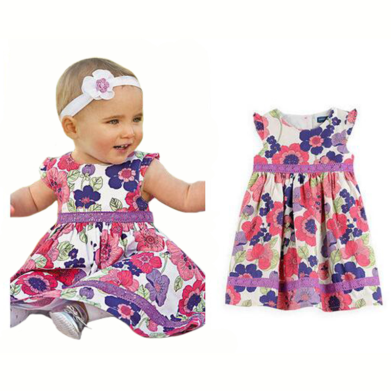 2016 New Girls Dress Vestidos floral Dress Kids Costume Children Clothing Summer Girls Lace Dress Baby