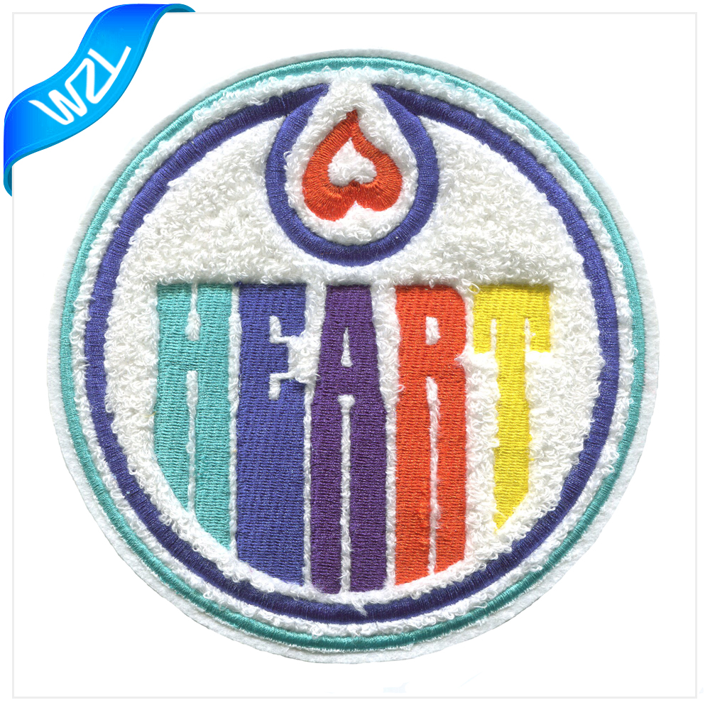 3d White embroidery chenille patch applique to custom handmade chenille patches