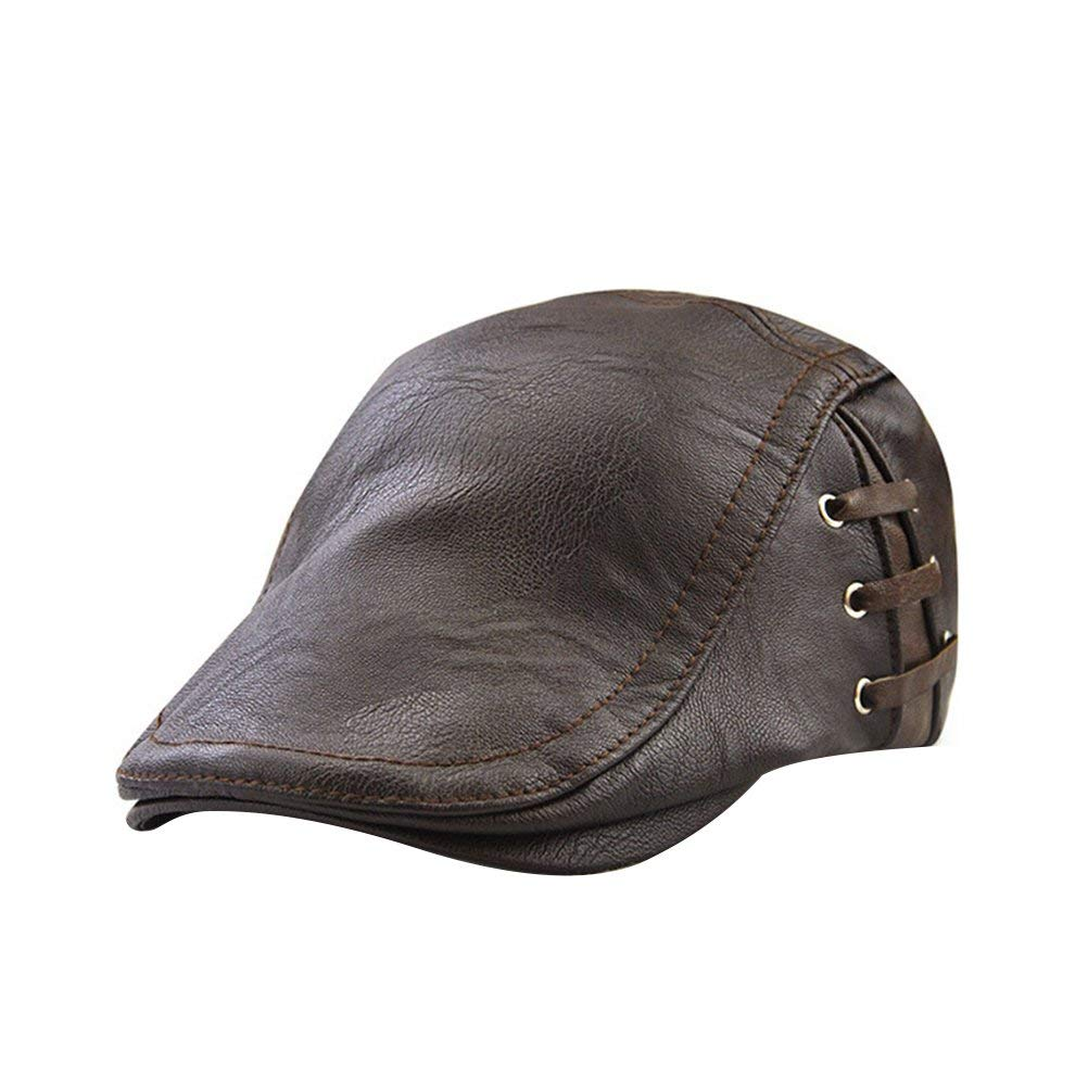 c7b039775e9497 Get Quotations · TINKSKY Men's Flat Cap Vintage PU Leather newsboy Cap Flat  Golf Driving Hunting Hat Christmas Gift
