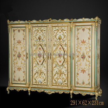 Vitoria Style Floral Painted Armoire, Noble Hand Carved Queen Anne Bedroom  Furniture Set , Retro