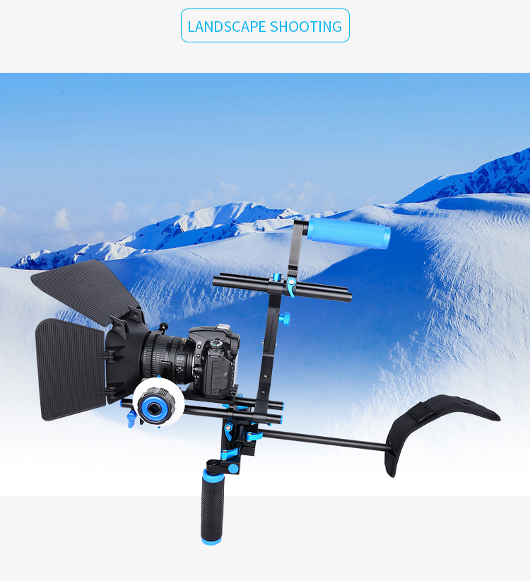 YELANGU D102 Removable Shoulder Rig Mount Follow Focus Matte Box with Top Handle for DSLR Video Camera, Camcorder
