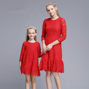 Z92036A Factory momy and me dress boutique design baby daughter dress latest mother and daughter matching lace dress